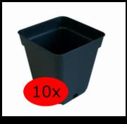 Grow Pot Square 0.5 Liter 9x9 cm Black 10 pieces