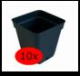Voorgroei Kweekpot Vierkant 0.5 liter 9x9 cm Zwart 10 stuks