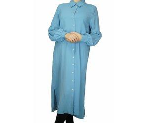 Licht Blauwe Jurk : Midi jurk lichtblauw met pofmouwen dresstique