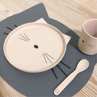 Liewood Aura placemat Cat - stone grey