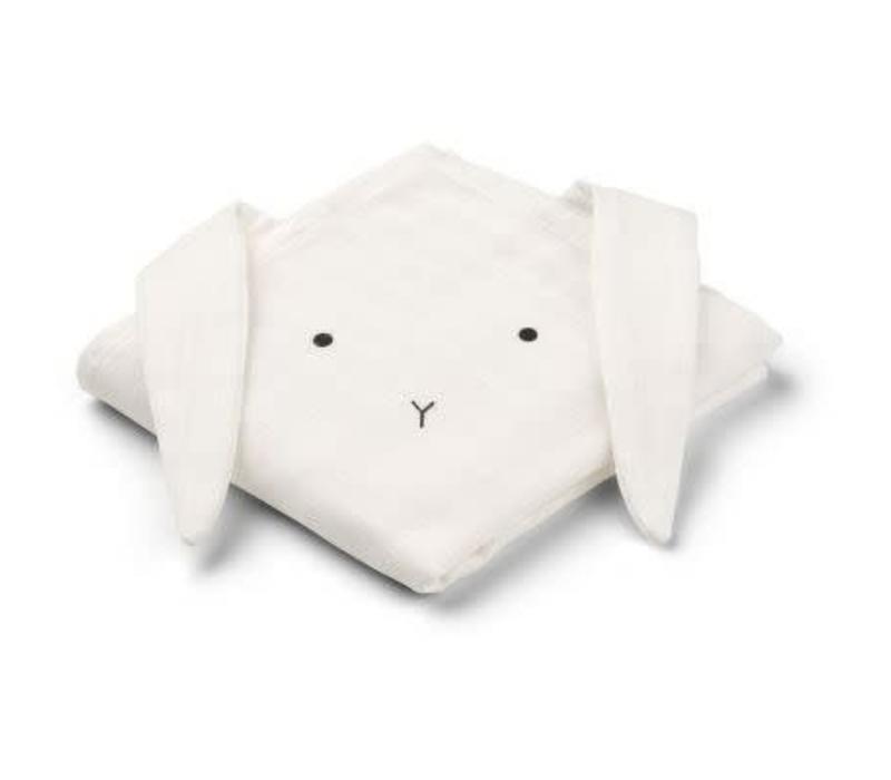 Liewood Hannah Muslin Cloth Rabbit 2-pack  - creme de la creme