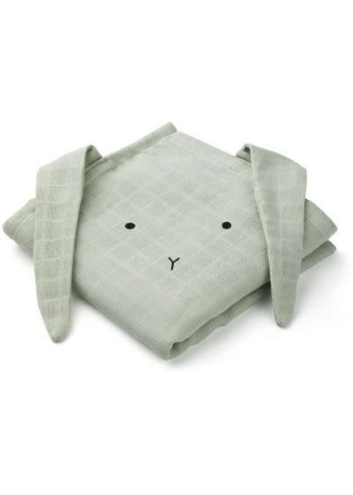 Liewood Liewood Hannah Muslin Cloth Rabbit 2-pack  - dusty mint