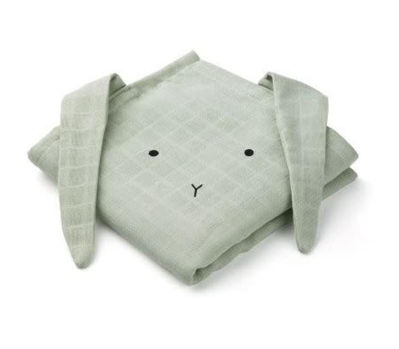 Liewood Hannah Muslin Cloth Rabbit 2-pack  - dusty mint
