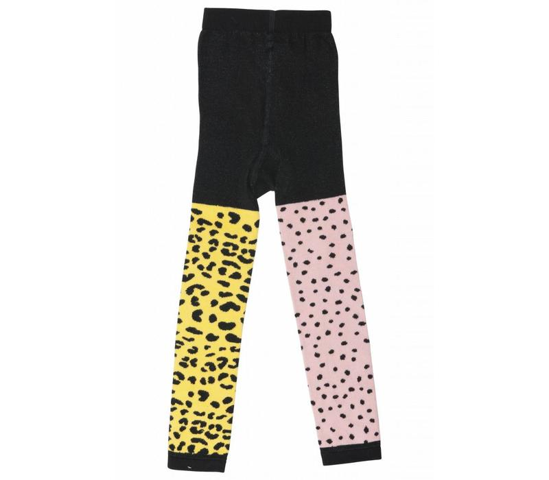 Wauw Capow by BangBang Harley Tights - pink and yellow leopard