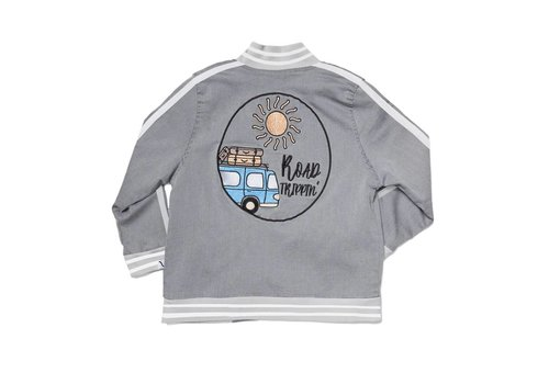 CarlijnQ CarlijnQ Grey Denim Bomber + Embroidery/lined with road trippin' modal