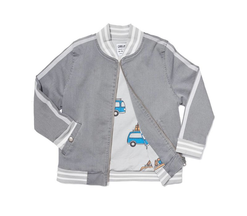 CarlijnQ Grey Denim Bomber + Embroidery/lined with road trippin' modal