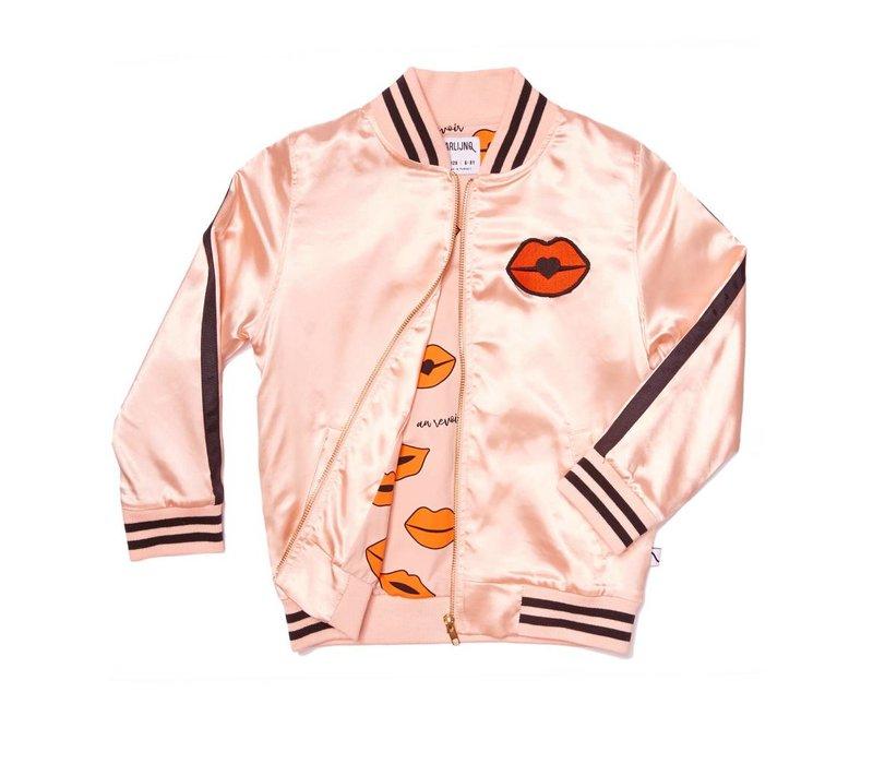 CarlijnQ Kiss Goodbye Bomber - pink satin/embroidered lips
