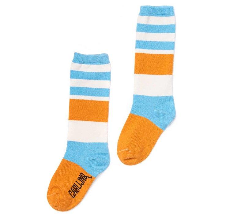 CarlijnQ Knee Socks - blue/yellow