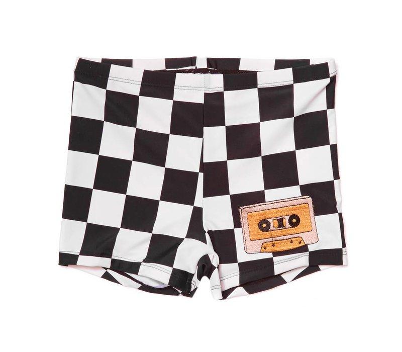 CarlijnQ Checkers UPF50+ Swimshorts - casette print