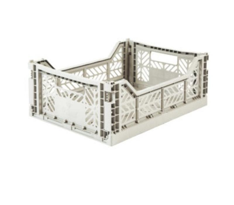 Lillemor Folding Crate Midi - light grey