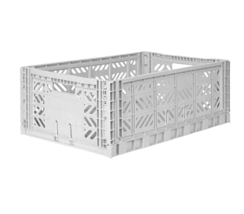 Lillemor Folding Crate Large - light grey