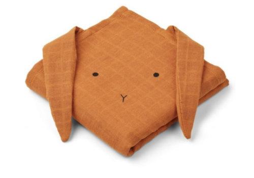 Liewood Liewood Hannah Muslin Cloth Rabbit 2-pack  - mustard