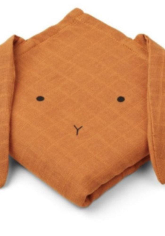 Liewood Hannah Muslin Cloth Rabbit 2-pack  - mustard