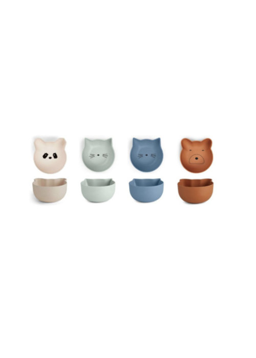Liewood Liewood Rex Snack Bowl 4-pack - blue mix