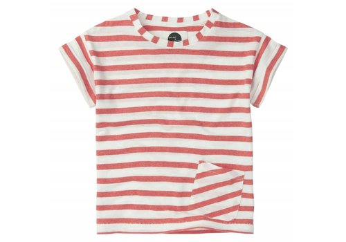 Sproet & Sprout Sproet & Sprout T-shirt Stripe Red - summer white & pepper