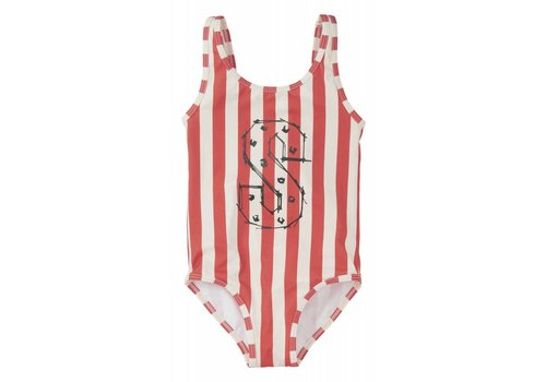 Sproet & Sprout Sproet & sprout Swimsuit Stripe - summer white & red pepper