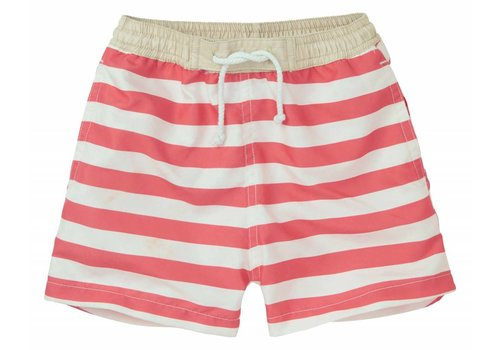 Sproet & Sprout Sproet & Sprout Swim short Stripe - summer white & red pepper
