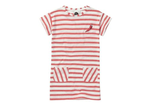 Sproet & Sprout Sproet & Sprout T-shirt Dress Stripe - red pepper