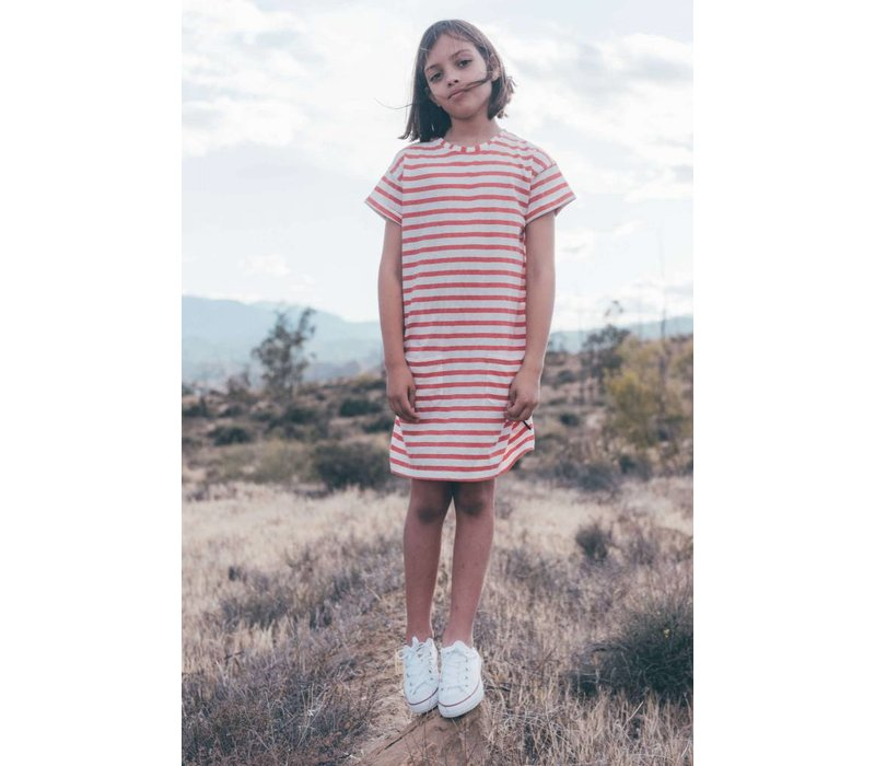 Sproet & Sprout T-shirt Dress Stripe - red pepper