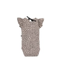 House of Jamie Ruffled Bodysuit Caramel Leopard