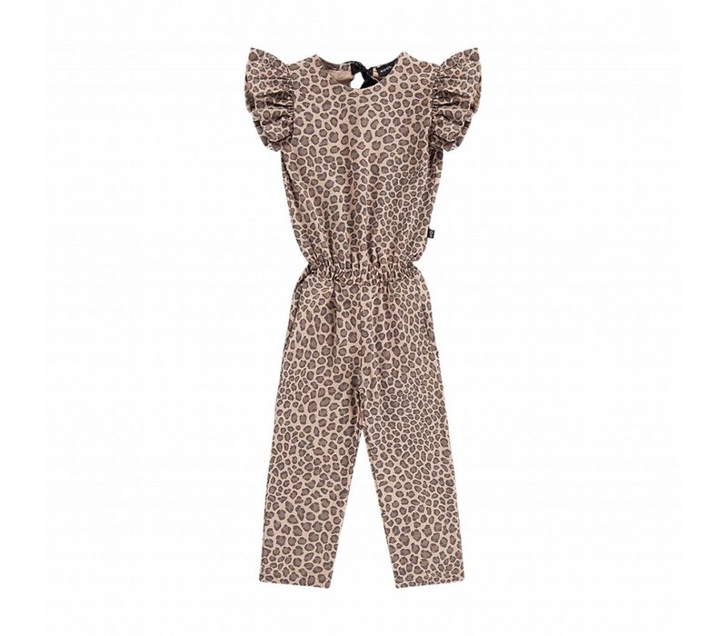 House of Jamie Ruffled Jumpsuit Caramel Leopard