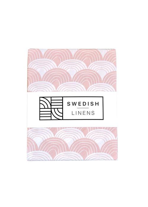 Swedish Linens Swedish Linens RAINBOWS Nudy Pink Flat baby Sheet 70x100cm