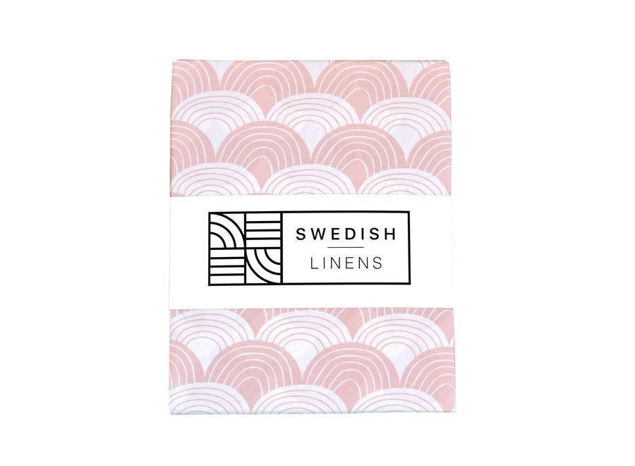 Swedish Linens RAINBOWS Nudy Pink Flat baby Sheet 70x100cm