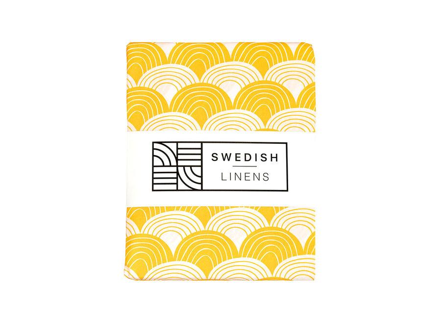Swedish Linens RAINBOWS Mustard Yellow Fitted Crib Sheet 60x120cm
