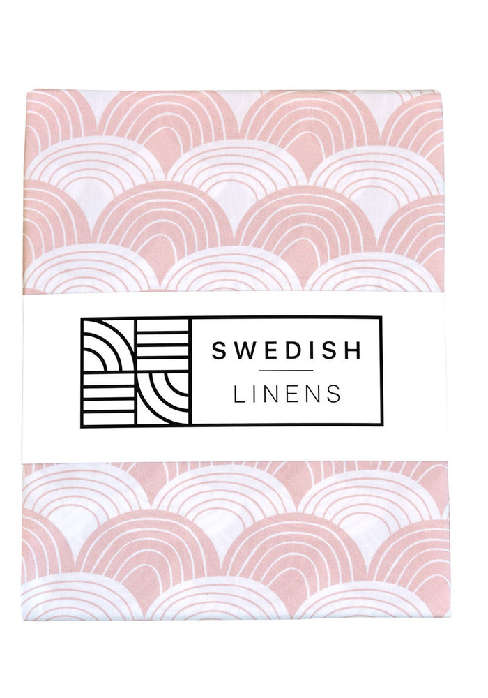 Swedish Linens RAINBOWS Nudy Pink Fitted Crib Sheet 60x120cm