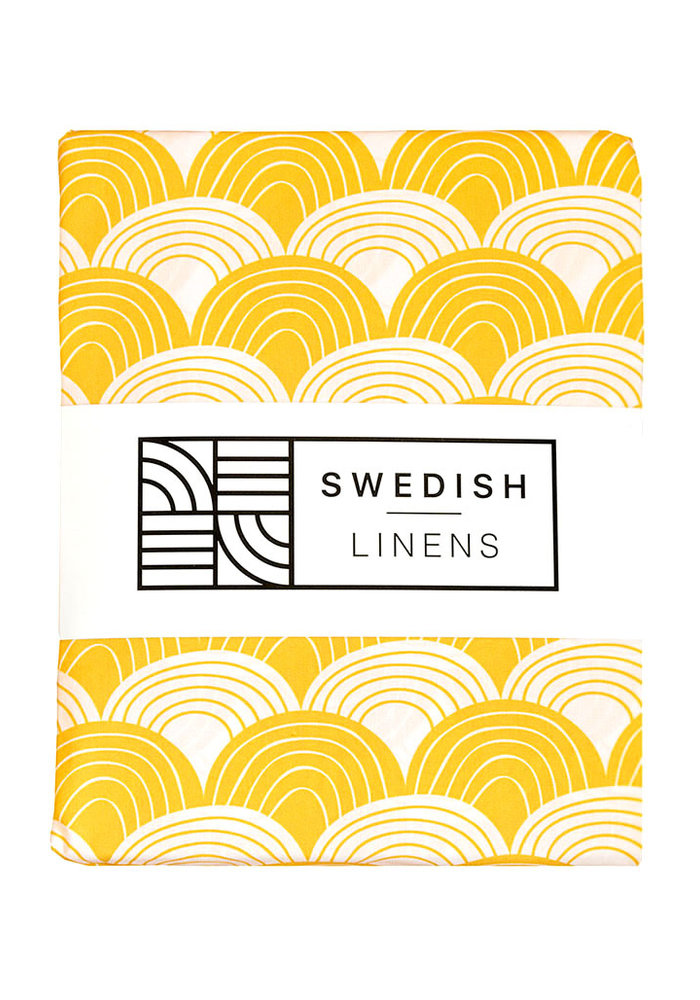 Swedish Linens RAINBOWS Mustard Yellow Fitted Toddler Bed Sheet 70x160cm
