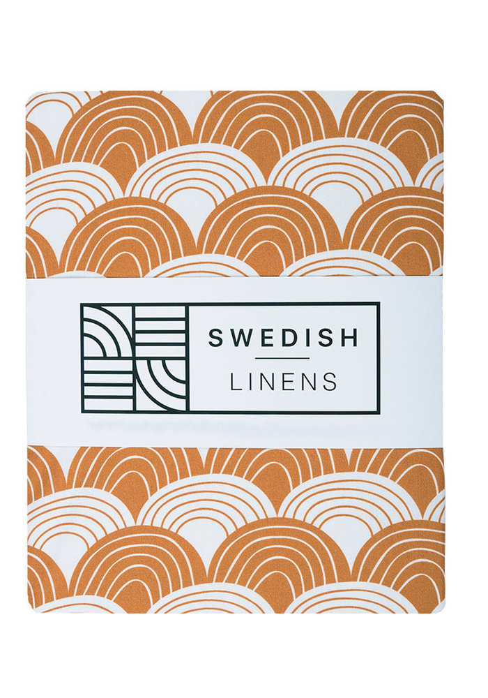 Swedish Linens RAINBOWS Cinnamon Brown Fitted Single Bed Sheet 90x200cm