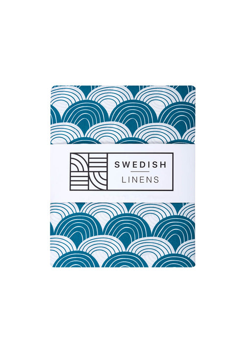 Swedish Linens Swedish Linens RAINBOWS Moroccan Blue Fitted Single Bed Sheet 90x200cm