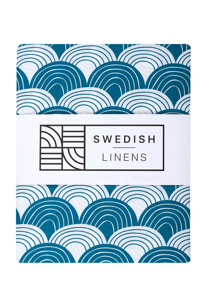 Swedish Linens RAINBOWS Moroccan Blue Fitted Single Bed Sheet 90x200cm