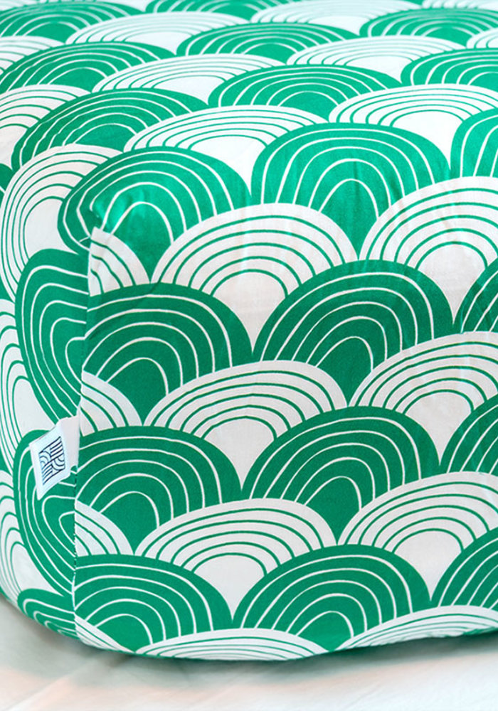 Swedish Linens RAINBOWS Pine Green Fitted Single Bed Sheet 90x200cm