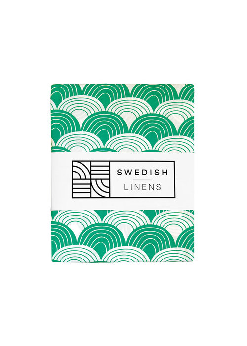 Swedish Linens Swedish Linens RAINBOWS Pine Green Fitted Single Bed Sheet 90x200cm