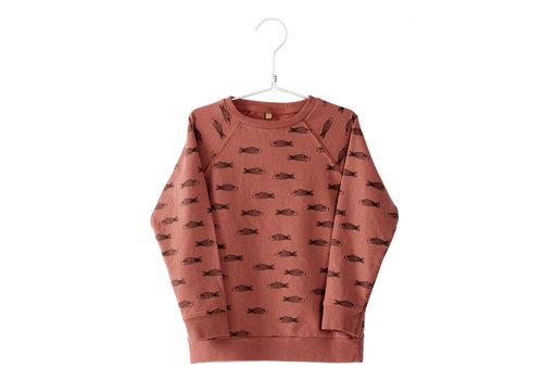 Lötiekids Lötiekids Sweatshirt Fishes - washed red