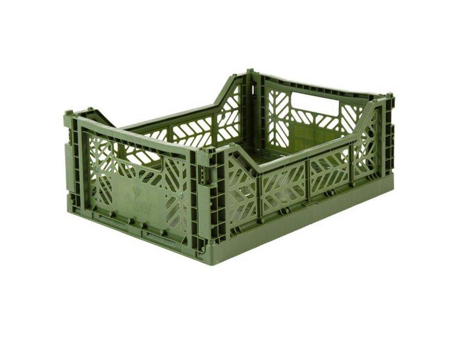 Lillemor Folding Crate Midi - khaki