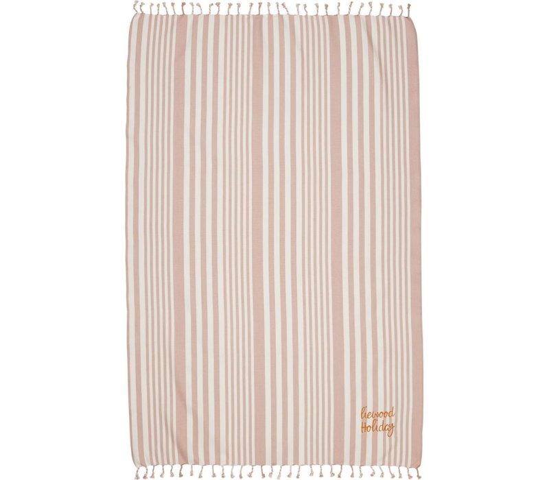 Liewood Monroe Beach Towel Stripe Rose/Creme de la Creme