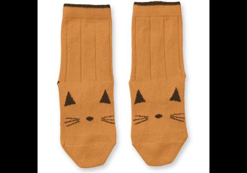 Liewood Liewood Silas Cotton Socks Cat Mustard - 2 pack