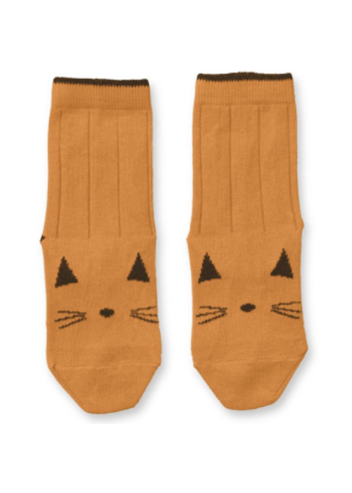 Liewood Liewood Silas Cotton Socks Cat Mustard - 2 pack
