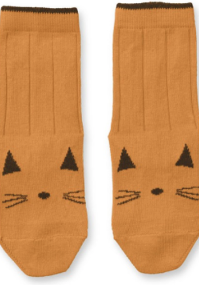 Liewood Silas Cotton Socks Cat Mustard - 2 pack
