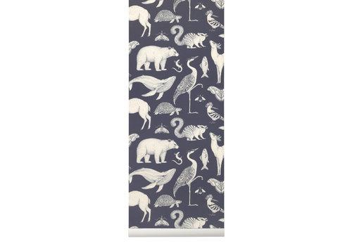 Ferm Living Ferm Living Katie Scott Animals Wallpaper Dark Blue