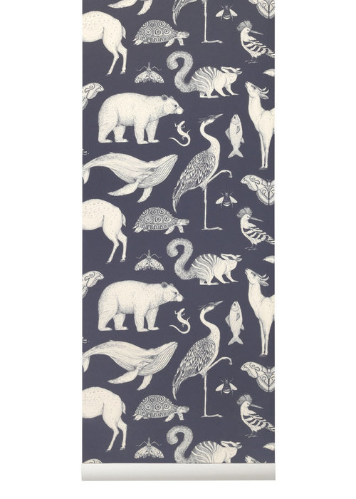 Ferm Living Ferm Living Katie Scott Animals Wallpaper Dark Blue