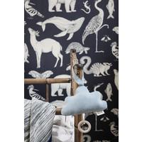 Ferm Living Katie Scott Animals Wallpaper Dark Blue