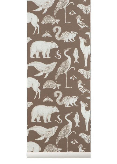 Ferm Living Ferm Living Katie Scott Animals Wallpaper Toffee