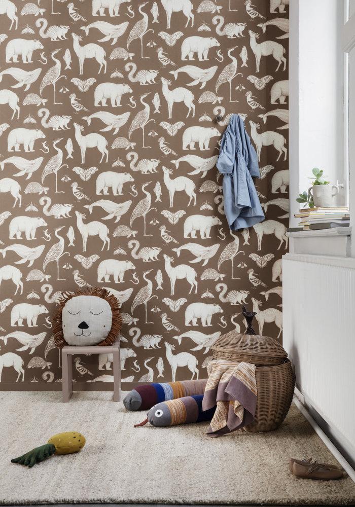 Ferm Living Katie Scott Animals Wallpaper Toffee