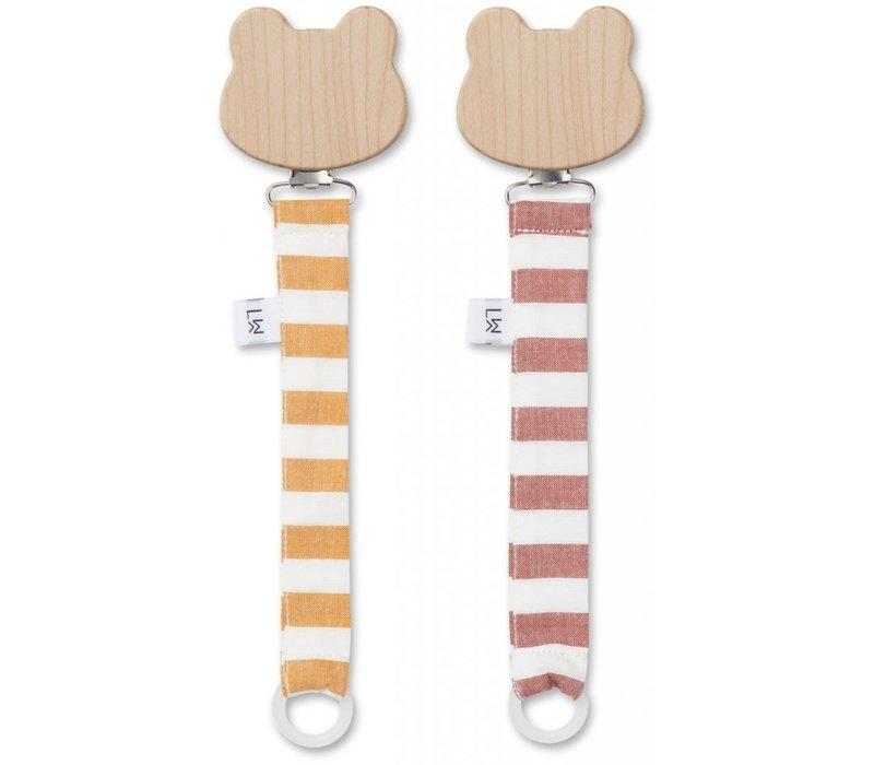 Liewood Sia pacifier Strap 2-Pack Mustard Crème de la Crème
