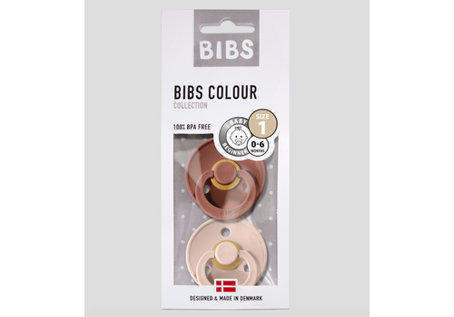 BIBS Bibs Pacifier Newborn - woodchuck/blush