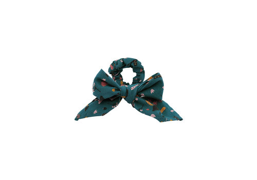 Soft Gallery Soft Gallery Scrunchie Bow Deep Teal AOP Funghi