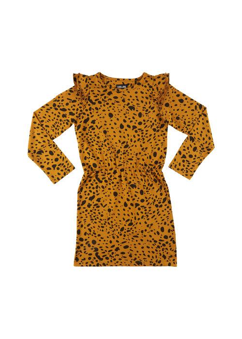 CarlijnQ CarlijnQ Spotted Animal Dress Ruffled Sleeves